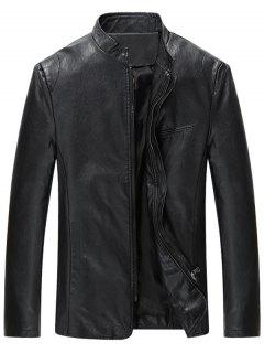 Full Zip Grandad Collar Faux Leather Jacket - Black 4xl