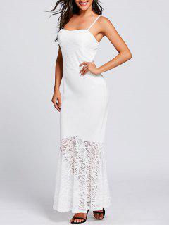 Vestido De Sirena Con Tira De Espagueti De Panel De Encaje - Blanco Xl