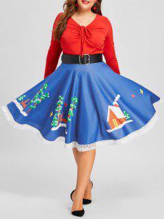 Christmas Plus Size Fringed Hem Flare Print Skirt - Blue 5xl