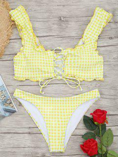 Gingham Lace Up Bralette Bikini Set - Weiß Und Gelb S