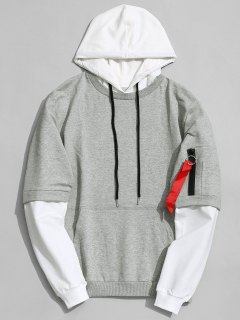 Cotton Two Tone Hoodie - Gray L