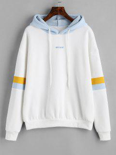 Werewolf Graphic Color Block Hoodie - White