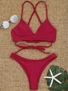 Ensemble De Bikini à Dos Croisé Tressé - Rouge L