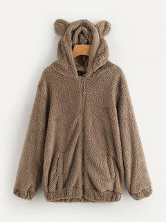 Bear Hooded Furry Coat - Brown