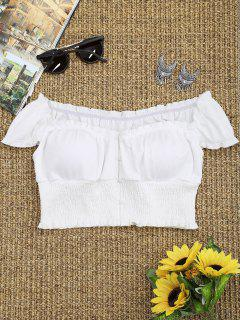 Smocked Off The Shoulder Crop Top - White S