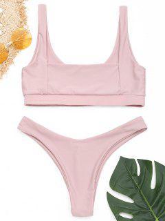 Ensemble Bikini Taille Haute à Encolure Carrée - Pale Rose Gris L