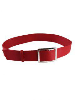 Metal Buckle Decorated Faux Leather Wide Waist Belt - Red