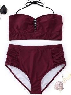 High Waisted Halter Plus Size Bikini - Wine Red 4xl