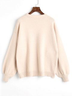 Pullover Oversized Lantern Sleeve Sweater - Light Apricot