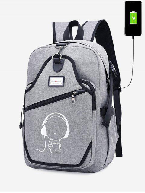 outfits USB Charging Port Luminous Cartoon Print Backpack -   Mobile