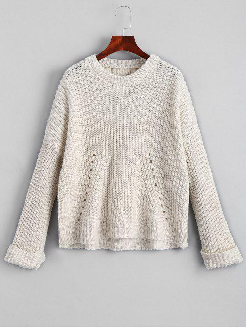 latest Oversized Chunky Destroyed Sweater - WHITE ONE SIZE Mobile