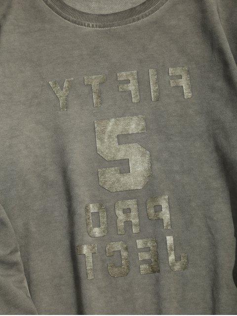 trendy Vintage Graphic Crew Neck Sweatshirt - GRAY L Mobile