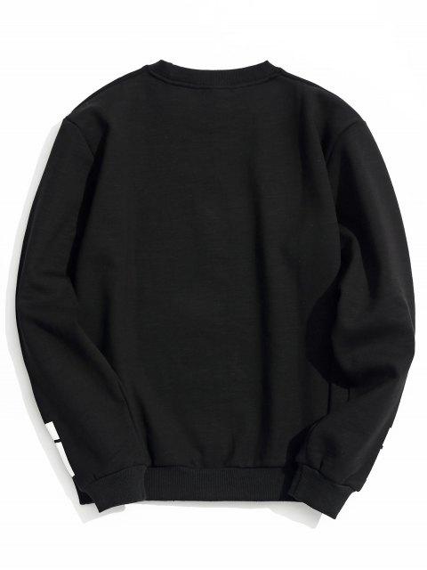 Sweat-shirt Ras du Cou à Doublure en Molleton - Noir XL Mobile