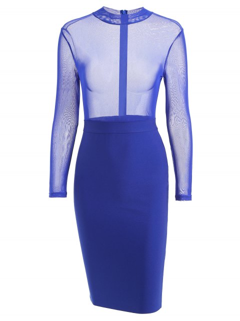 fashion Sheer Mesh Panel Bandage Dress - ROYAL L Mobile