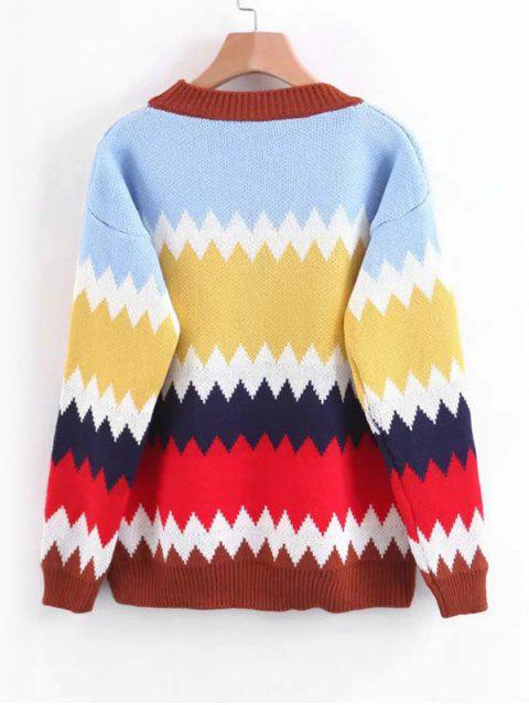 sale Pullover Contrasting Zig Zag Sweater - LIGHT BLUE ONE SIZE Mobile