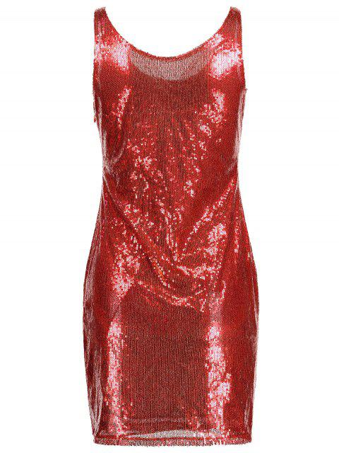 buy Sequins Sleeveless Fitted Dress - RED M Mobile