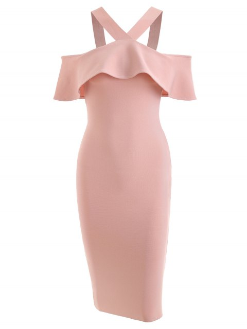 fancy Ruffled Bodycon Prom Dress - PINK S Mobile