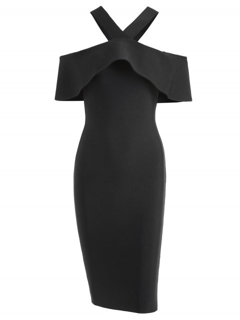 lady V Neck Flounce Hem Bandage Dress - BLACK M Mobile