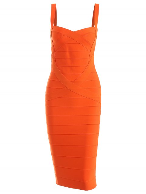 unique Sweetheart Neck Bandage Dress - ORANGE L Mobile