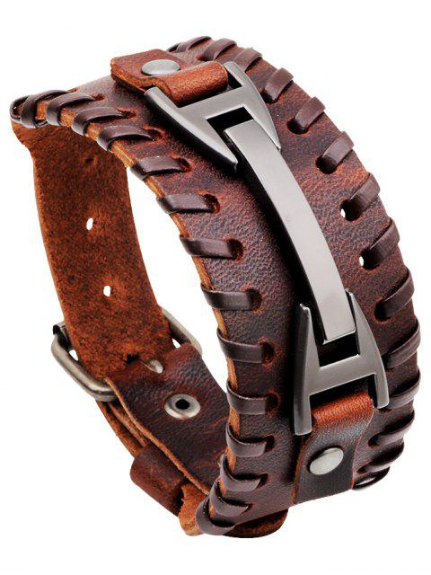fashion Punk Style Faux Leather Wide Bracelet - BROWN  Mobile