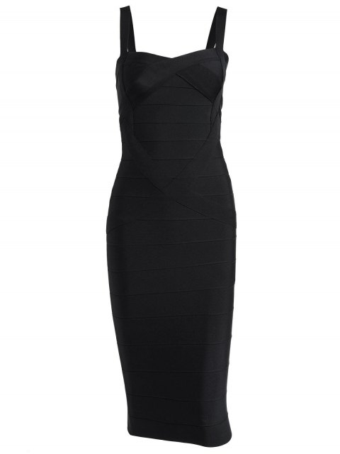 affordable Sweetheart Neck Bandage Dress - BLACK L Mobile