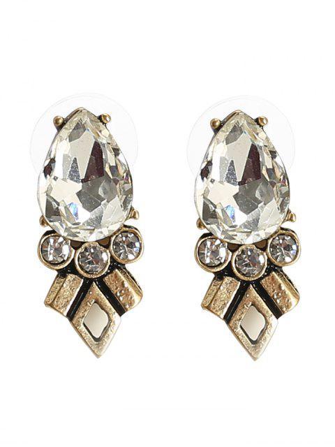 ladies Rhinestone Faux Crystal Geometric Teardrop Earrings - BRONZE  Mobile