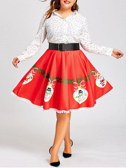 women Christmas Plus Size Pom Pom Trimmed Flare Print Skirt - RED 2XL Mobile