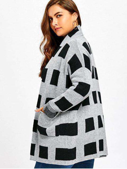 fashion Plus Size Plaid Pockets Open Front Cardigan - PLAID XL Mobile