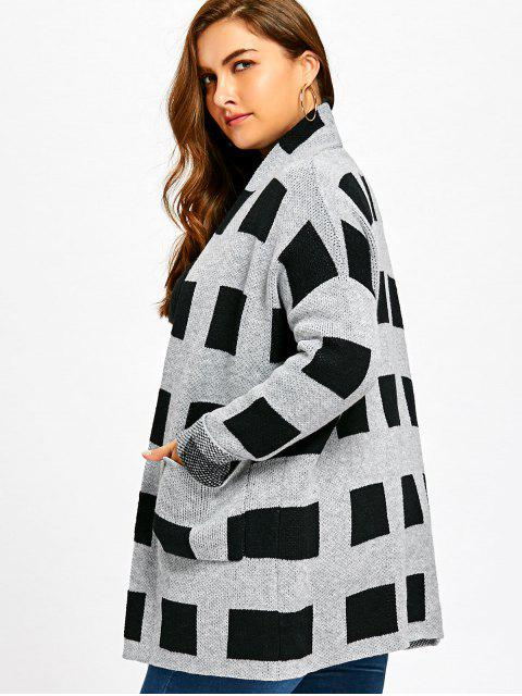 unique Plus Size Plaid Pockets Open Front Cardigan - PLAID 4XL Mobile