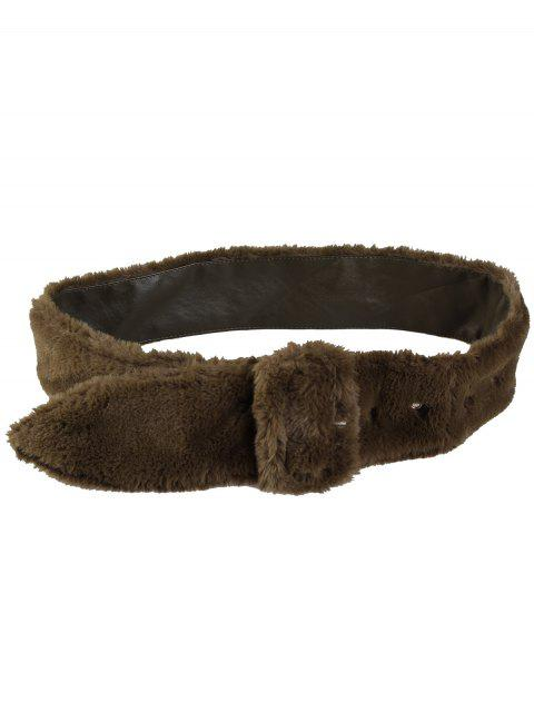 Rectangle Buckle Agrémentée Furry Ceinture large - Olive Verte  Mobile