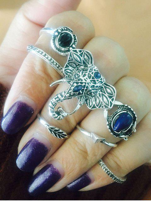 buy Vintage Elephant Leaf Teardrop Finger Ring Set - SILVER  Mobile