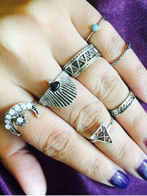 Tribal Star Moon Geometric Finger Ring Set - Plata  Mobile