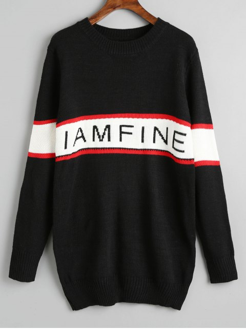 latest Contrasting Pullover Letter Graghic Sweater - BLACK ONE SIZE Mobile