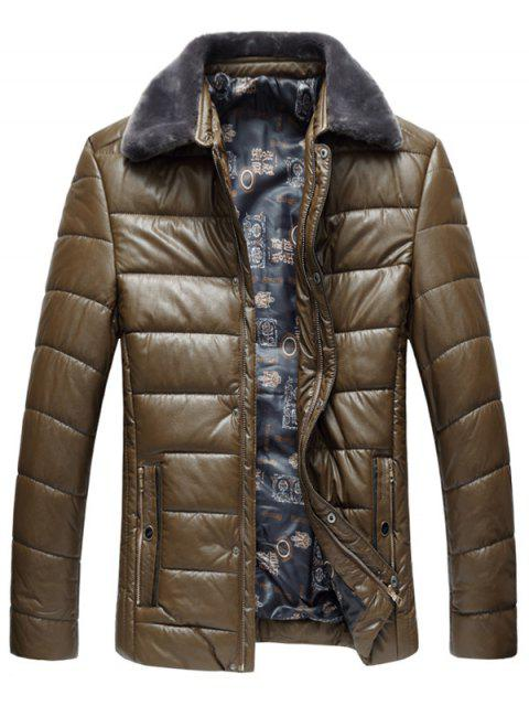online Faux Fur Collar PU Leather Padded Zip Up Coat - KHAKI 4XL Mobile