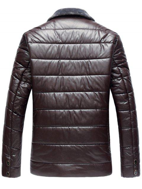 shop Faux Fur Collar PU Leather Padded Zip Up Coat - WINE RED XL Mobile