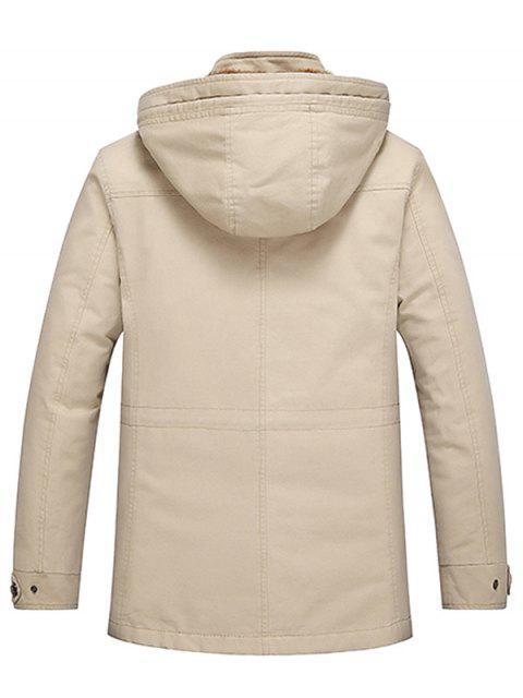 outfits Detachable Hooded Pockets Fleece Zip Up Coat - LIGHT KHAKI 3XL Mobile