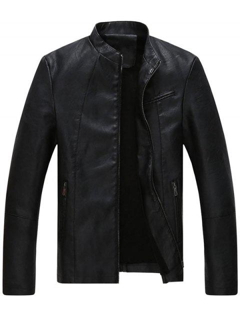 ladies Full Zip Stand Collar Faux Leather Jacket - BLACK XL Mobile