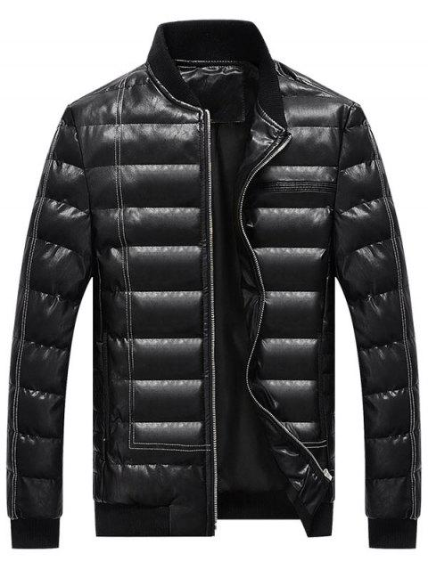 affordable Zip Up Faux Leather Padded Bomber Jacket - BLACK L Mobile