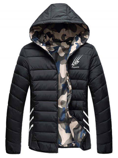 Veste Rembourrée Imprimée Camouflage Style Réversible - Noir 2XL Mobile