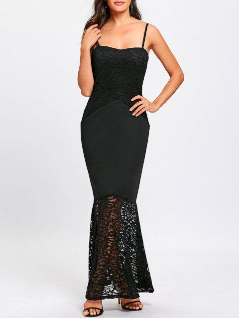 Vestido de sirena con tira de espagueti de panel de encaje - Negro M Mobile