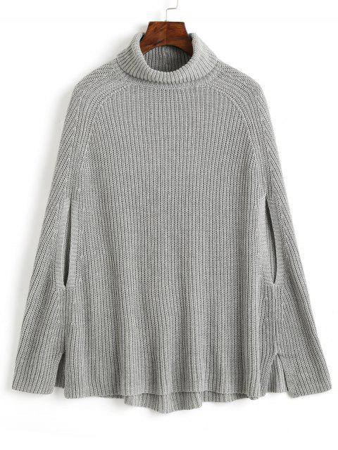 outfit Cape Side Slit Turtleneck Sweater - GRAY ONE SIZE Mobile