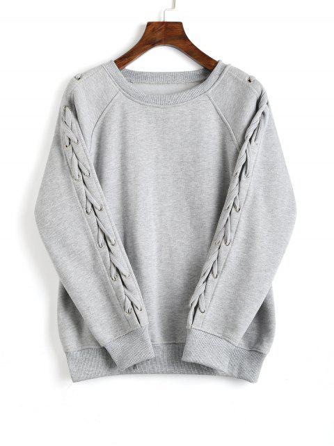 Lose Raglan Ärmel Schnür Sweatshirt - Grau L Mobile