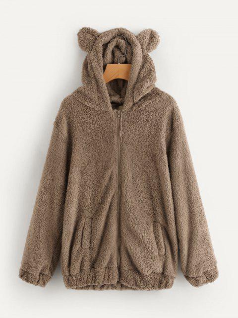 Manteau à Capuche Ours Duveteux - BRUN Taille Unique Mobile