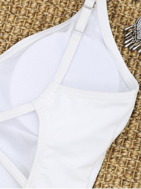 Traje de baño de corte alto cruzado - Blanco M Mobile