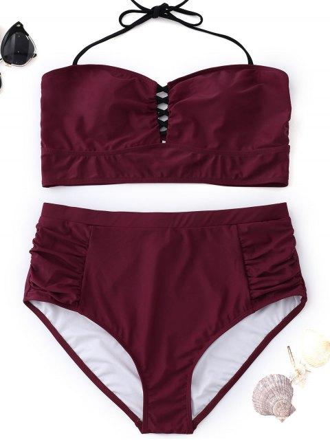 latest High Waisted Halter Plus Size Bikini - WINE RED 3XL Mobile