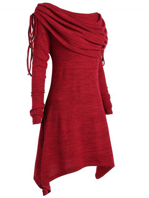 new Long Foldover Collar Plus Size Ruched Top - WINE RED 1X Mobile