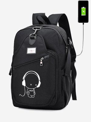USB Charging Port Luminous Cartoon Print Backpack