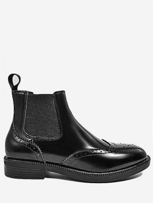 Elastic Band Wingtip Short Boots - Black 39