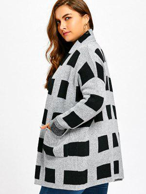Plus Size Plaid Pockets Open Front Cardigan