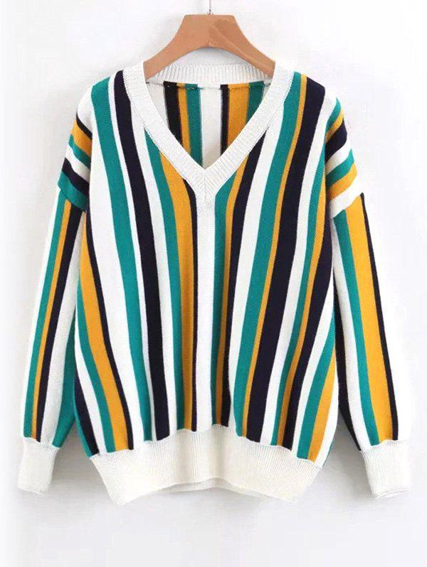 Contrasting Pullover Stripes V Neck Sweater 236362101